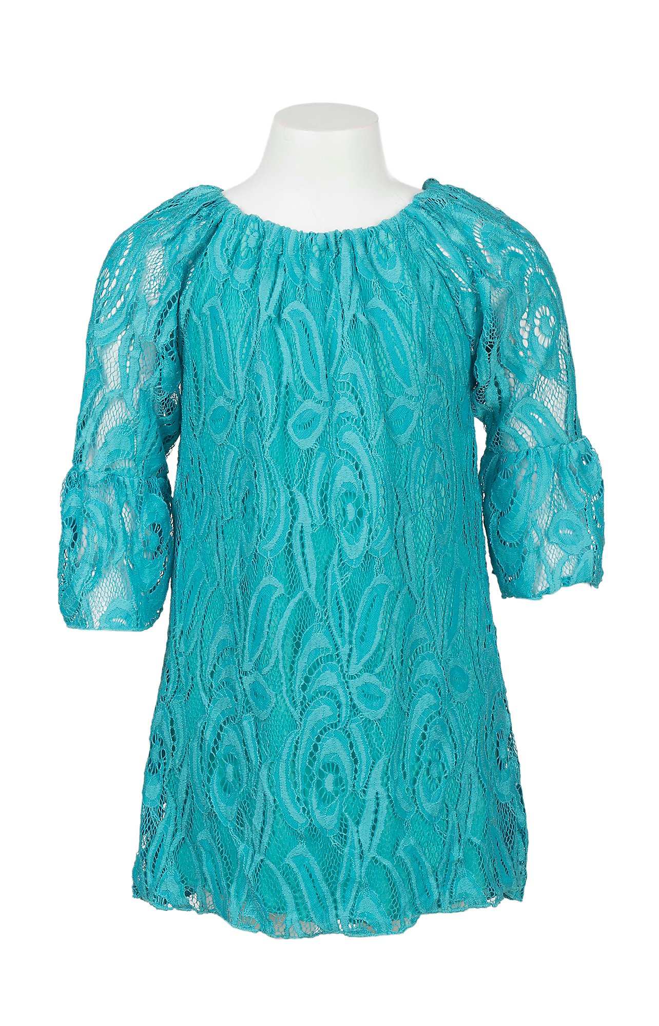 Lore Mae Girl's Turquoise Lace Long Sleeve Dress | Cavender's