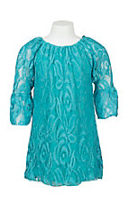 Lore Mae Girl's Turquoise Lace Long Sleeve Dress