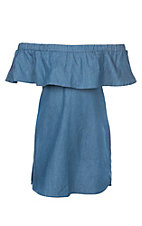 Lore Mae Girls Denim Ruffled Dress