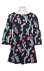 Lore Mae Girls Navy Cactus Dress