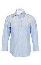 Wired Heart Girls Light Blue with Lace and Fringe L/S Western Snap Shirt