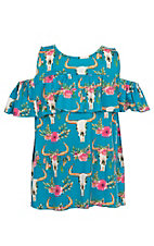 Lore Mae Girls Turquoise Skull Print Cold Shoulder Shirt
