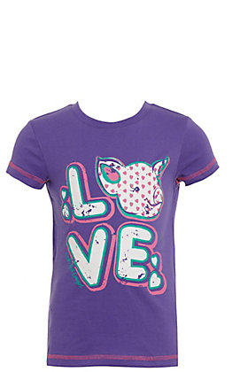 Rock & Roll Cowgirl Girls' Purple Love Pig Short Sleeve Tee