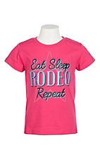 Rock & Roll Cowgirl Girls Pink Eat Sleep Rodeo Repeat S/S T-Shirt
