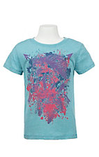 Rock & Roll Cowgirl Girl's Blue with Purple and Pink Splattered Paint Horse Screen Print Short Sleeve T-Shirt