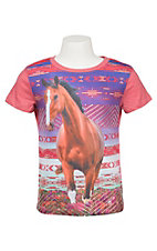 Rock & Roll Cowgirl Girl's Pink with Horse and Rhinestones Short Sleeve T-Shirt