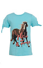 Rock & Roll Cowgirl Girls Horse Graphic Short Sleeve T-Shirt