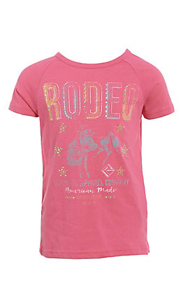Rock & Roll Cowgirl Girls Rodeo Graphic Short Sleeve T-Shirt