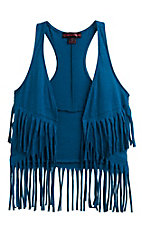 Rock & Roll Cowgirl Girl's Turquoise Fringe Vest