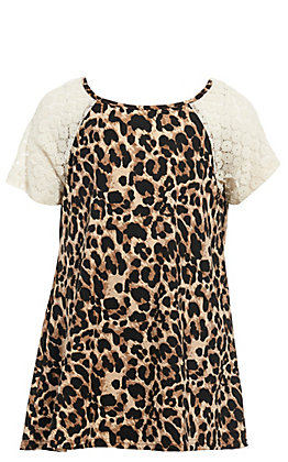Lore Mae Girls' Leopard & Lace Fashion Top