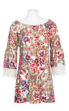 Lore Mae Girls Multi-Color Paisley w/ Lace Accents Dress