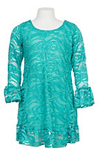 Lore Mae Girls Turquoise Lace Ruffle Dress