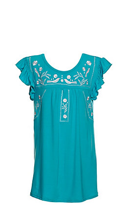 Lore May Girls Toddler Turquoise With White Embroidery Short Sleeve Dress