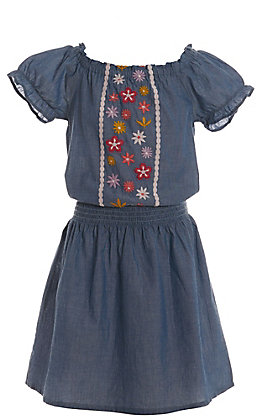 Lore Mae Girls' Denim with Floral Embroidery Short Sleeve Dress