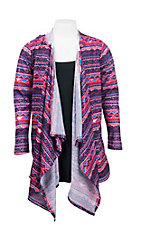 Rock & Roll Cowgirl Girl's Pink, Purple, and Blue Aztec Print Long Sleeve Hooded Cardigan