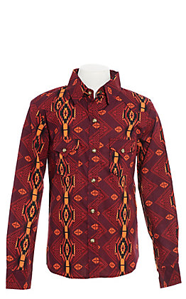 Rock & Roll Cowgirl Girls' Maroon Aztec Print Long Sleeve Western Shirt