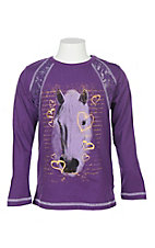 Rock & Roll Cowgirl Girls' Purple Horse Print Long Sleeve Shirt
