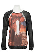 Rock & Roll Cowgirl Girls' Horse Screen Print w/ Charcoal Sleeves L/S Shirt
