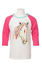 Cowgirl Hardware Girls Horse Head Sketch 3/4 Sleeve Shirt