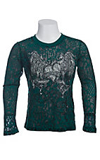 Rock & Roll Cowgirl Girls Teal & Black Leopard Print with Embellished Winged Heart L/S Burnout Tee