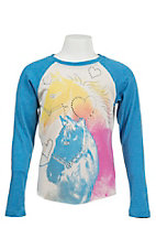 Rock & Roll Cowgirl Girl's White with Multicolor Horse Design 3/4 Length Sleeve Baseball Shirt