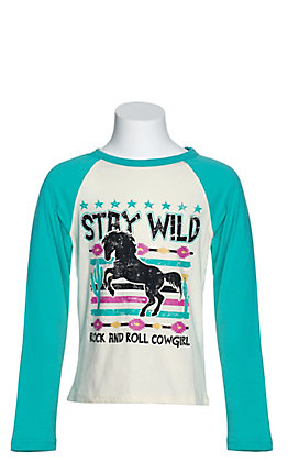 Rock & Roll Cowgirl Girls' Cream Stay Wild Graphic with Teal Long Raglan Sleeves Tee