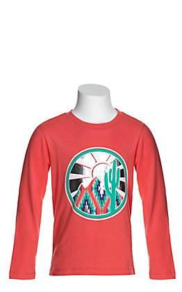Rock & Roll Cowgirl Girls' Coral with Cactus Graphic Long Sleeve Tee