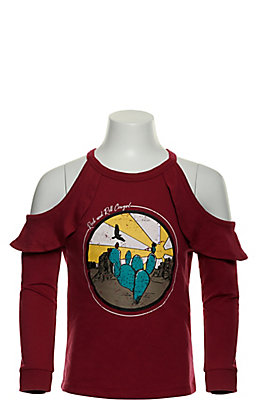 Rock & Roll Cowgirl Girl's Fuschia Pink with Desert Graphic Ruffle Cold Shoulder Long Sleeve Top