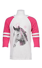Rock and Roll Girls Stars and Feather Horse T-Shirt