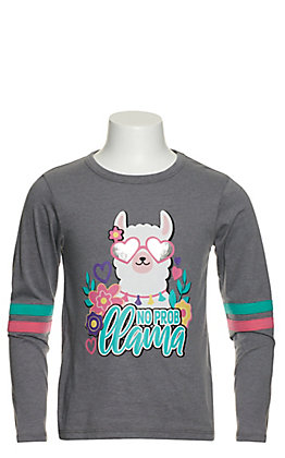Rock & Roll Cowgirl Girls' Grey No Prob Llama Graphic Long Sleeve T-Shirt