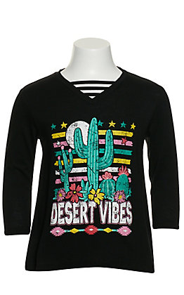 Rock & Roll Cowgirl Girls' Black Desert Vibes Caged V-Neck Long Sleeve Top