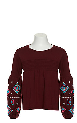 Rock & Roll Cowgirl Girls' Maroon with Aztec Puff Print on Long Balloon Sleeves Top
