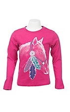 Rock & Roll Cowgirl Girl's Pink with Horsehead Screen Print Long Sleeve Casual Knit Top