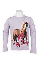 Rock & Roll Cowgirl Women's Lavender with Horse and Wild and Free Screen Print Long Sleeve Casual Knit Shirt