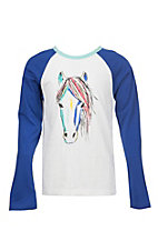 Rock and Roll Girls Blue 3/4 Sleeves Horse T-Shirt