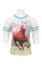 Rock & Roll Cowgirl Girl's White with Horse Screen Print on Front Long Sleeve Casual Knit Shirt
