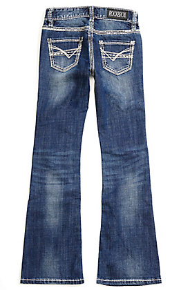 Rock & Roll Cowgirl Girls' Vintage Wash with Embroidery Boot Cut Jeans
