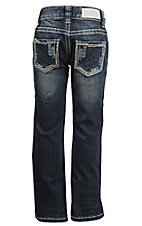 Rock & Roll Cowgirl Girl's Dark Vintage Wash with Abstract Border & Rhinestones Flap Pocket Boot Cut Jean