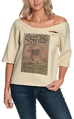 Gina Women's Tan George Strait Gilley's Distressed 3/4 Sleeve Sweatshirt Top