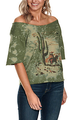 Gina Women's Distressed Green Cactus Cowboy Graphic 3/4 Sleeve Sweatshirt Top