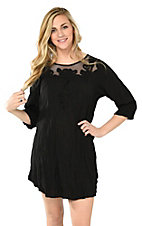 Ethyl Women's Black with Floral Neckline 3/4 Sleeve Dress