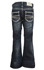 Rock & Roll Cowgirl Girls' Dark Wash Diamond Embroidered Pocket Boot Cut Jeans