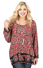 Ethyl Women's Red and Black Floral Print with Mesh Accents Long Sleeve Tunic Fashion Top