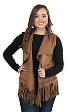 Montana Clothing Company Women's Tan Faux Suede with Fringe Sleeveless Vest