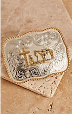 Montana Silversmiths Two-toned Scalloped Rectangle Christian Cowboy Buckle