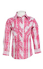 Wired Heart Girl's Pink Plaid with Horse Print Long Sleeve Western Snap Shirt
