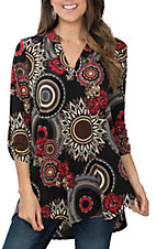 James C Women's Black, Cream and Red Floral Scroll Print 3/4 Sleeve Fashion Shirt