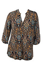 James C Women's Toffee and Mint Ornate Print 3/4 Sleeve Fashion Top - Plus