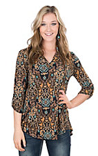 James C Women's Toffee and Mint Ornate Print 3/4 Sleeve Fashion Top