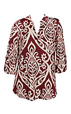 James C Women's Burgundy & Oatmeal 3/4 Sleeve Fashion Shirt - Plus Size